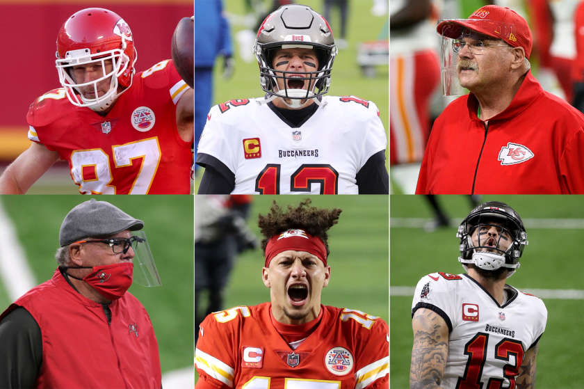Travis Kelce, Tom Brady, Andy Reid, Mike Evans, Patrick Mahomes and Bruce Arians.