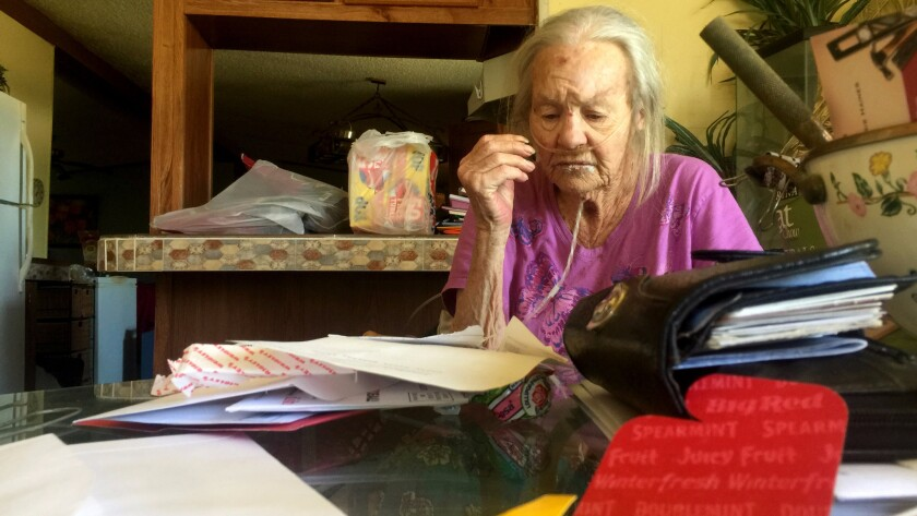 Polly Thorpe of Salome, Ariz., is one of the many poor seniors who find life difficult in La Paz County.