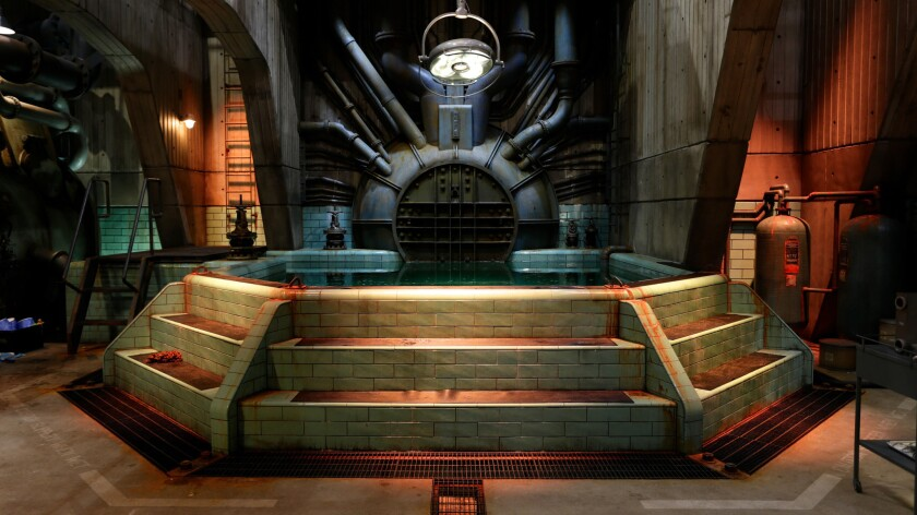 """A behind the scenes image of production design by Paul Austerberry on the set of """"Shape of Water."""" C"""