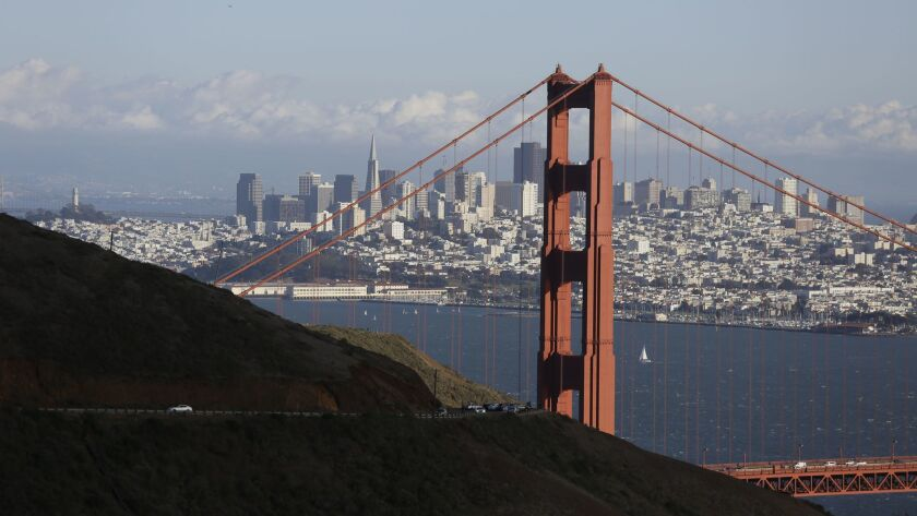 The Golden Gate Bridge and San Francisco skyline as seen from the Marin Headlands above Sausalito, Calif. on Oct. 28, 2015.