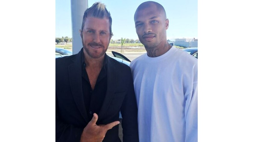 """Jeremy Meeks, right, known as the """"hot felon,"""" was released from prison Tuesday."""