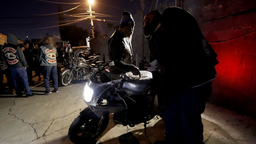 LOS ANGELES, CALIF. - DEC. 7, 2017. Members of the International Brotherhood of Street Racers and