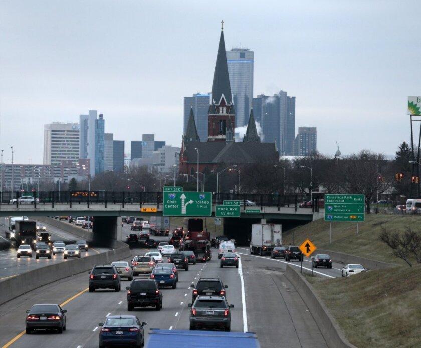 Traffic heads toward downtown Detroit.