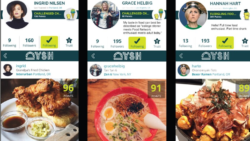 An example of three profiles on Dysh, a new smartphone app that allows users to share photos of restaurant dishes and rate them on a 100-point scale.