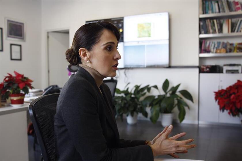 La secretaria del Medio Ambiente de la Ciudad de México, Tanya Müller García, habla durante una entrevista con Efe, en Ciudad de México (México). EFE