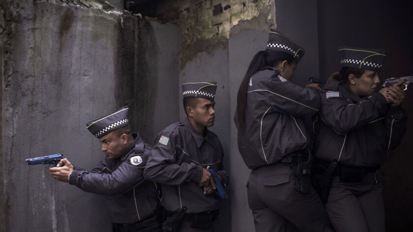 At Sao Paulo's police academy, cadets prepare for an
