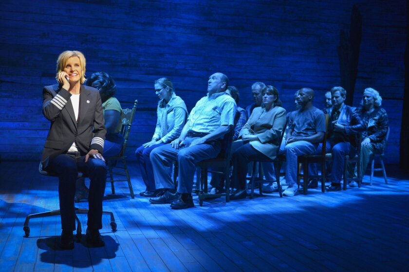"Jenn Colella (left) and the cast of La Jolla Playhouse's world-premiere musical ""Come From Away."""