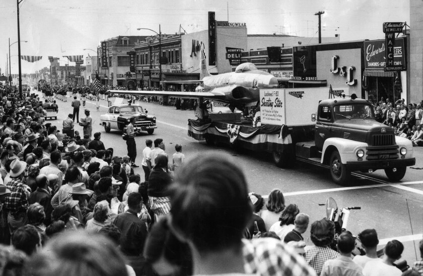 May 22, 1954: Lockheed F-80 Shooting Star jet rides a truck in the City of Burbank's 67th birthday