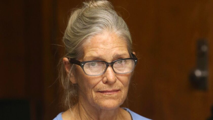 FILE - This Sept. 6, 2017 file photo shows Leslie Van Houten at her parole hearing at the California