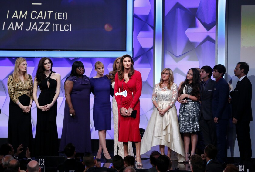"""The casts of """"I Am Cait"""" and """"I Am Jazz"""" accept the award for outstanding reality program onstage during the 27th GLAAD Media Awards."""