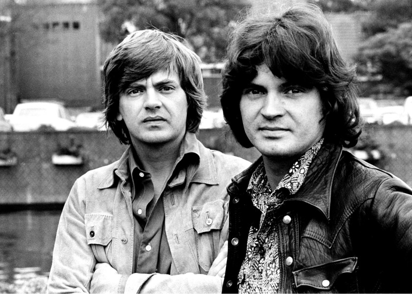 Phil Everly and Don Everly outside the Hilton Hotel in Amsterdam in 1971.