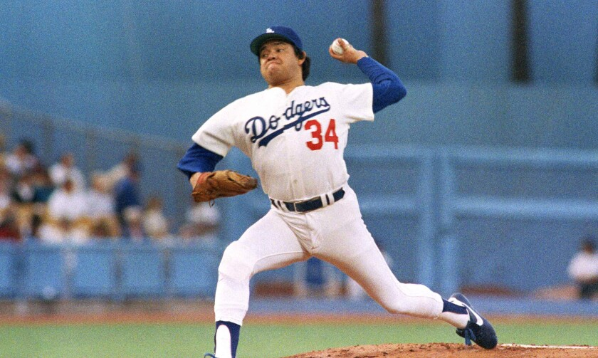 Los Angeles Dodgers pitcher Fernando Valenzuela  in the opening game of the 1985 National League Championship series.