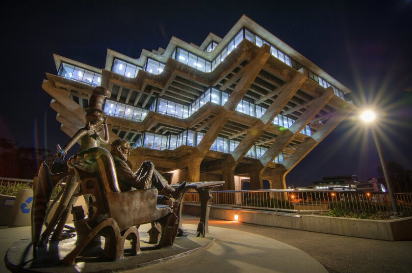 The Geisel Library at night, UC San Diego.