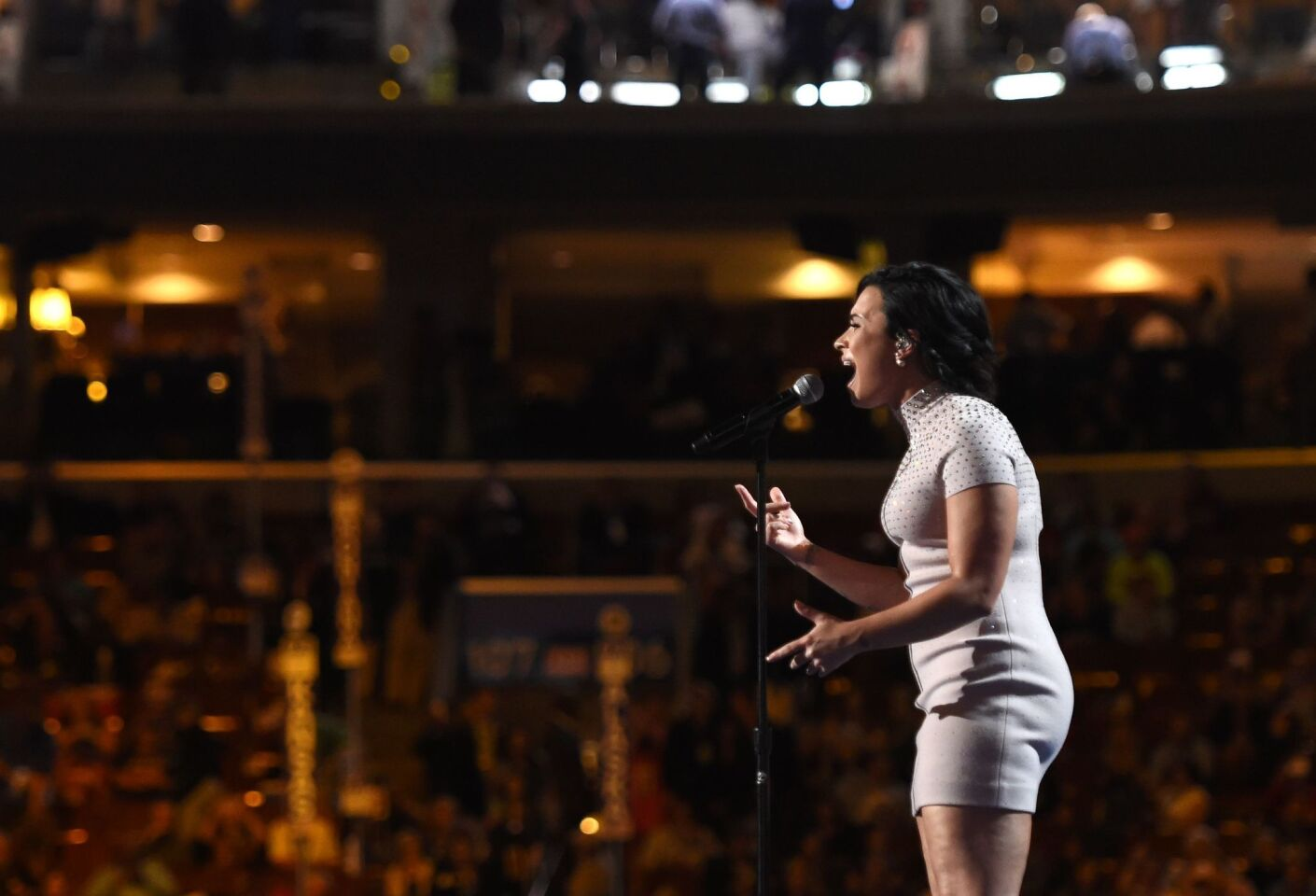 Singer Demi Lovato performs on Day 1 of the Democratic National Convention at the Wells Fargo Center on July 25, 2016 in Philadelphia, Pennsylvania.