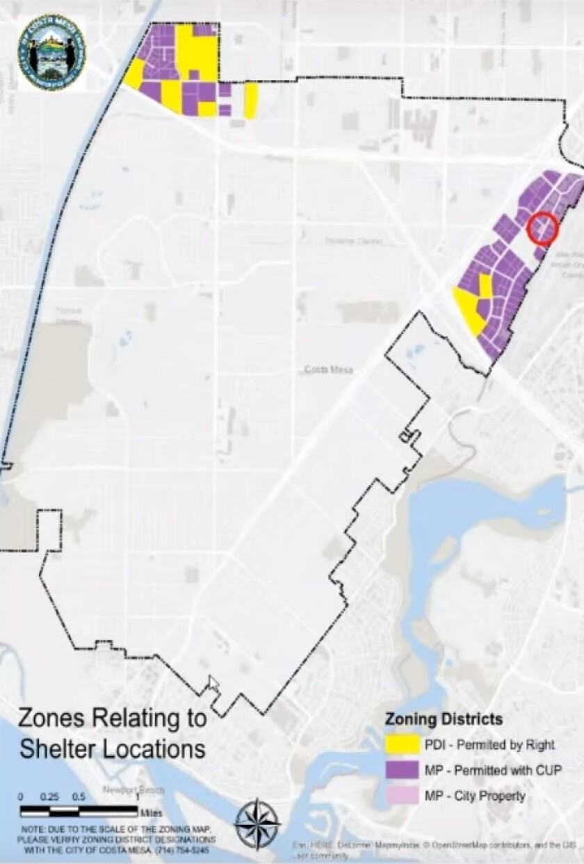 Costa Mesa shelter zoning