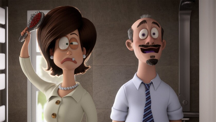 """A still from """"Luis and the Aliens"""" movie. Nag disguised as Mrs. Winter (Will Forte), Mog disguised a"""