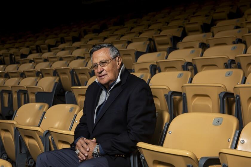 Jaime Jarrín sits in the seats at Dodger Stadium in 2019.