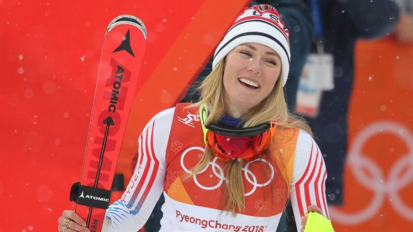 Silver medalist Mikaela Shiffrin celebrates on the podium during the Ladies' Alpine Combined at the PyeongChang 2018 Winter Olympic Games on Thursday.
