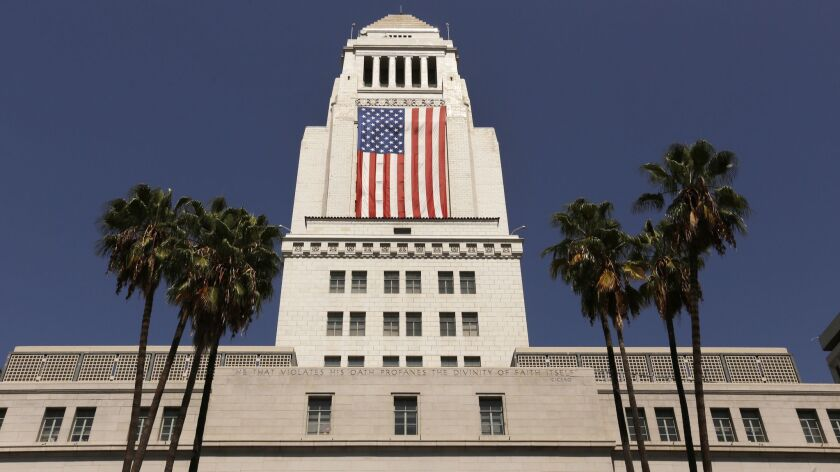 The American flag draped on Los Angeles City Hall in 2017.