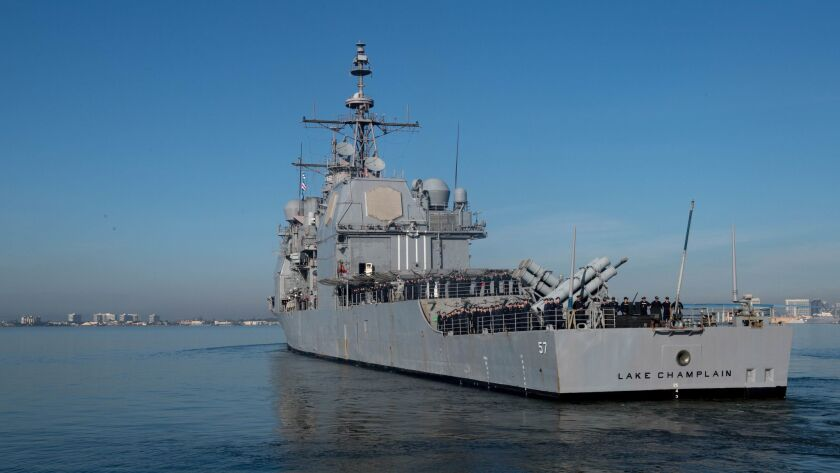 The guided-missile cruiser Lake Champlain departed San Diego on Thursday and is expected to rendezvous at sea with the supercarrier Carl Vinson, part of a strike group tour of the Western Pacific.