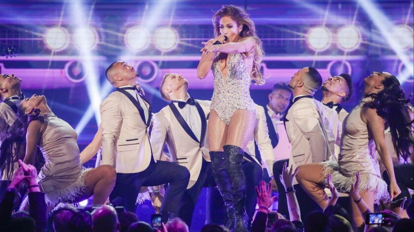 LOS ANGELES, CA - February 10, 2019 Jennifer Lopez performs onstage during the 61st GRAMMY Awards a