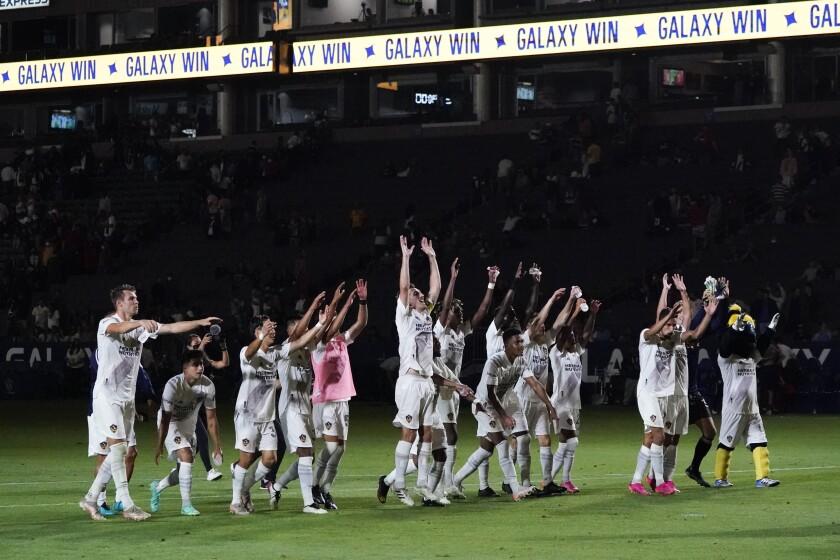 LA Galaxy celebrates a 3-1 win over FC Dallas