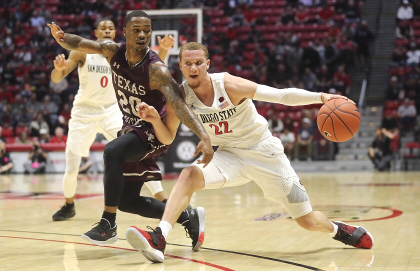 Fourth-year junior Malachi Flynn, a transfer from Washington State, scored 15 points Tuesday in a 77-42 win over Texas Southern at Viejas Arena.