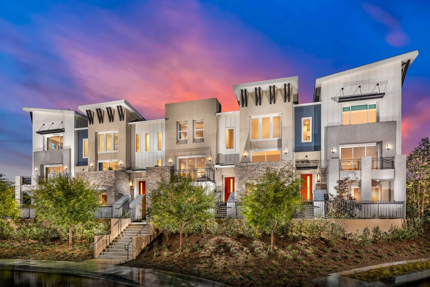 Three-story townhomes at Bressi Ranch in Carlsbad start in the low $500,000s.