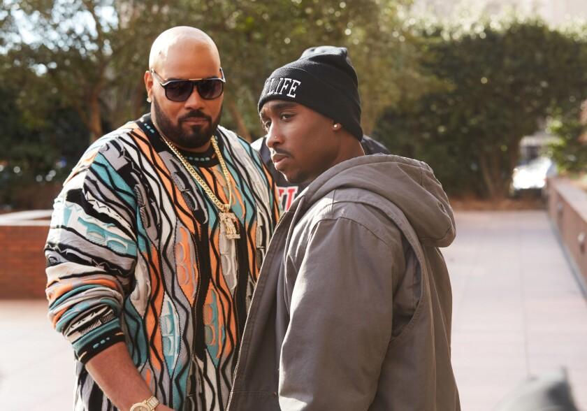 "Dominic L. Santana, left, as Suge Knight and Demetrius Shipp Jr. as Tupac Shakur in the film ""All Eyez on Me."""