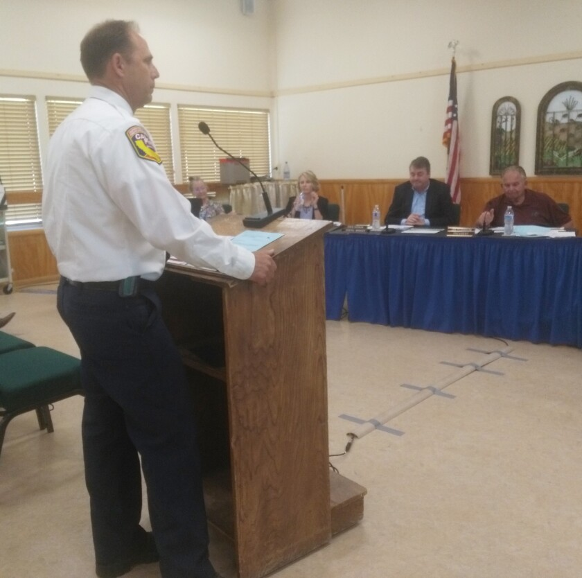 Ramona Battalion Fire Chief Larry Converse describes plans for spending fire mitigation fees on upgrading Fire Station 80 and paying down the cost of a fire truck.