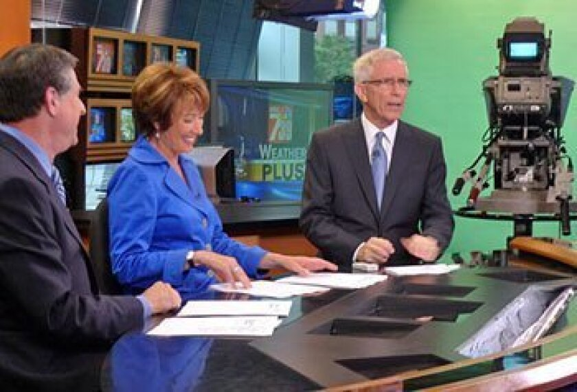 For his first San Diego forecasts, new KNSD/Channel 39 weathercaster Fritz Coleman joined Marty Levin and Susan Taylor at the anchor desk. Many of his forecasts will originate from NBC4 in Burbank, where Coleman still works. (KNSD)