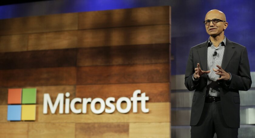 Microsoft Chief Executive Satya Nadella speaks at a shareholders meeting in Bellevue, Wash.