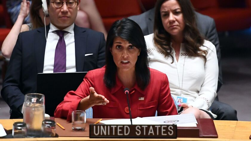 U.S. Ambassador to the United Nations Nikki Haley speaks during a U.N. Security Council meeting on North Korea in New York on Wednesday.