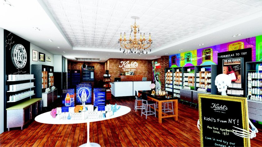 Design rendering of the new 1,204-square-foot Kiehl's store in Westfield UTC.