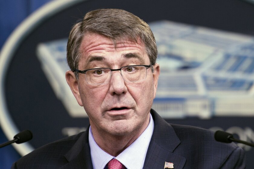 FILE - In this Jan. 28, 2016 file photo, Defense Secretary Ash Carter speaks during a news conference at the Pentagon. (AP Photo/Cliff Owen, File)