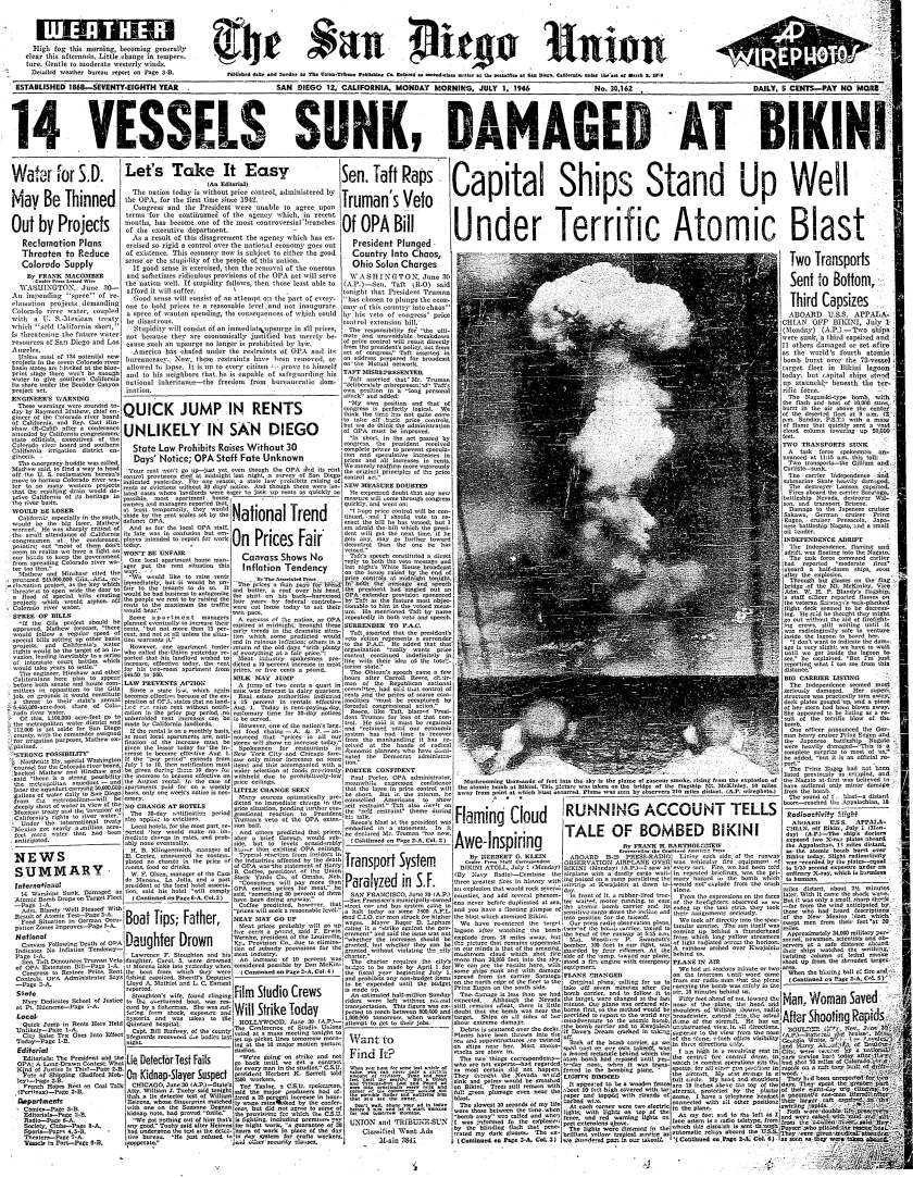 July 1, 1946 front page of The San Diego Union  reporting on atomic bomb tests  at Bikini Atoll.
