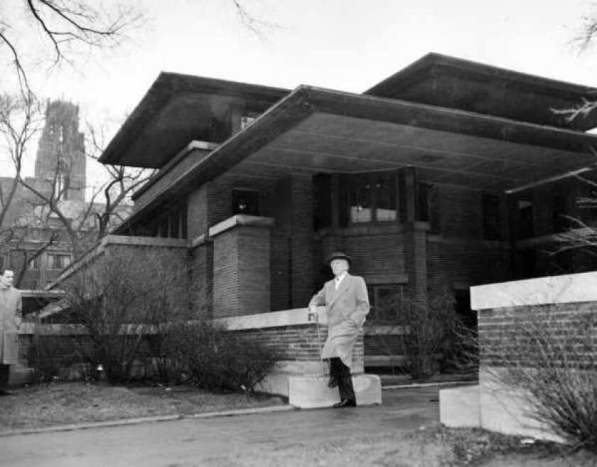 Architect Frank Lloyd Wright visits his Robie House in Chicago on March 18, 1957.