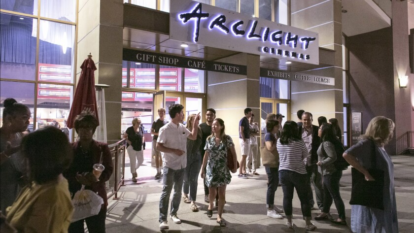 PASADENA, CA - Aug. 19, 2018: People stream out of the the ArcLight Cinemas theatre in Pasadena on S
