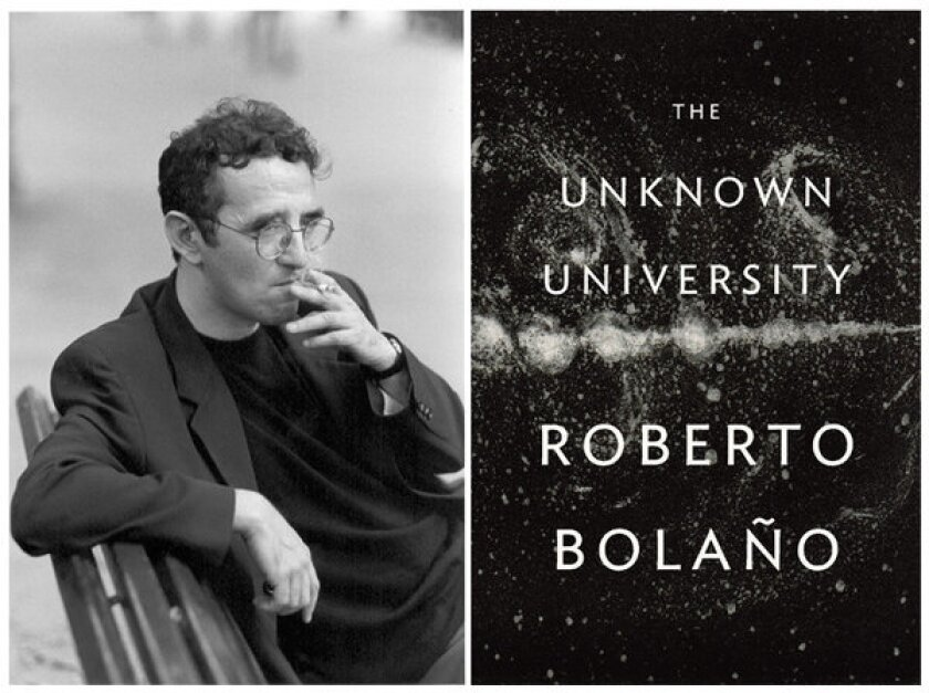 "Poet Roberto Bolaño and the cover of his poetry collection, ""The Unknown University."""
