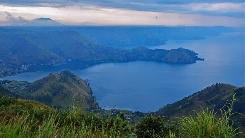 Beautiful Panoramic nature view of lake Toba from Berastagi, Medan, Indonesia.