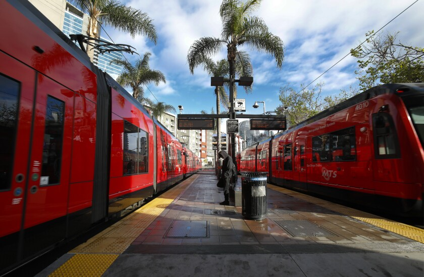 On Wednesday April 8, 2020, two almost empty trolley trains arrived and departed from the 12th and Imperial Transit Center.
