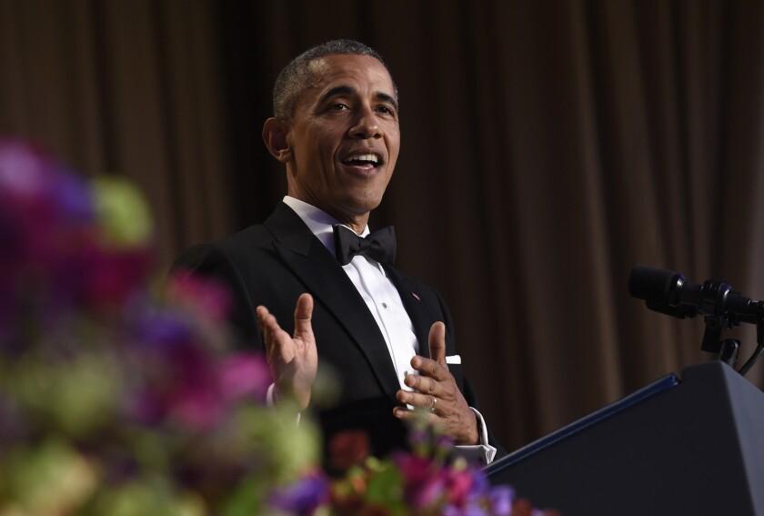 President Obama speaks at the annual White House Correspondents' Assn. dinner at the Washington Hilton in Washington on April 30.