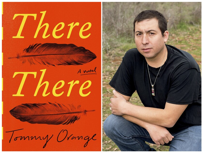 """This combination photo shows a cover image of the novel """"There There,"""" by Tommy Orange, left, and a"""