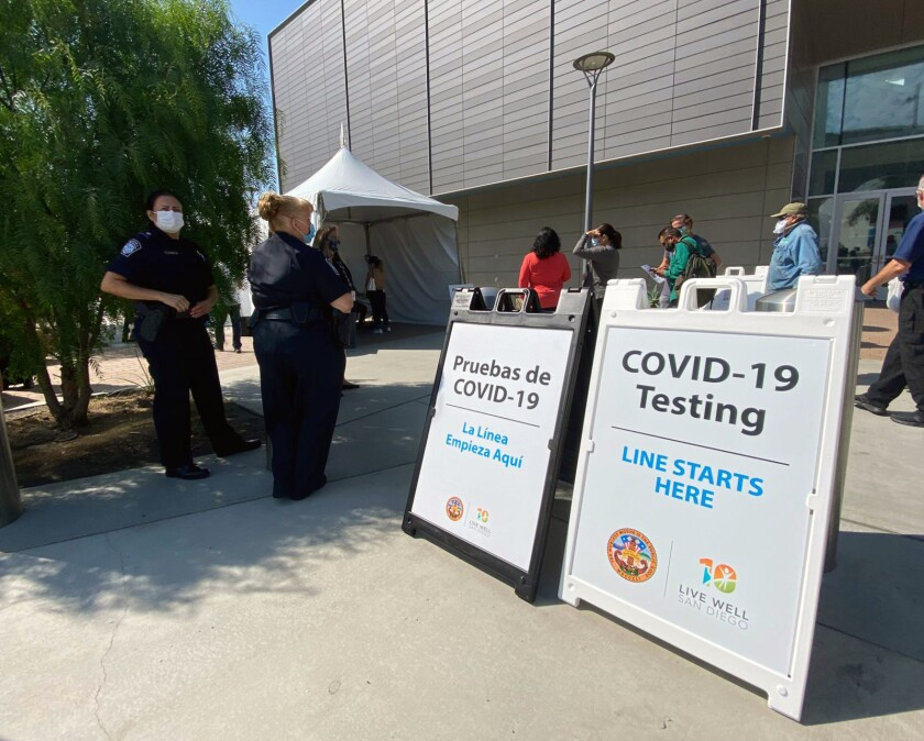A location for COVID-19 tests is placed at the Pedeast exit in San Ysidro.