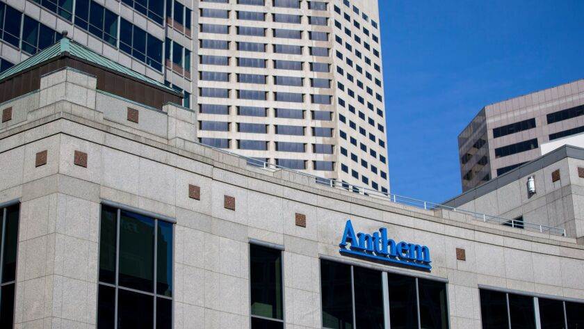An exterior view of the Anthem Health Insurance headquarters in Indianapolis in February 2015.