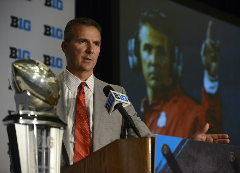 Ohio State head coach Urban Meyer speaks to the media during the NCAA college Big Ten Football Media Day Thursday, July 30, 2015 in Chicago. (AP Photo/Paul Beaty)