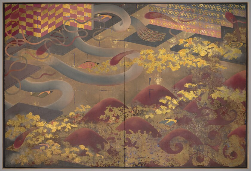 "Takako Yamaguchi, ""Magnificat #6,"" 1984; oil, bronze leaf and glitter on paper."