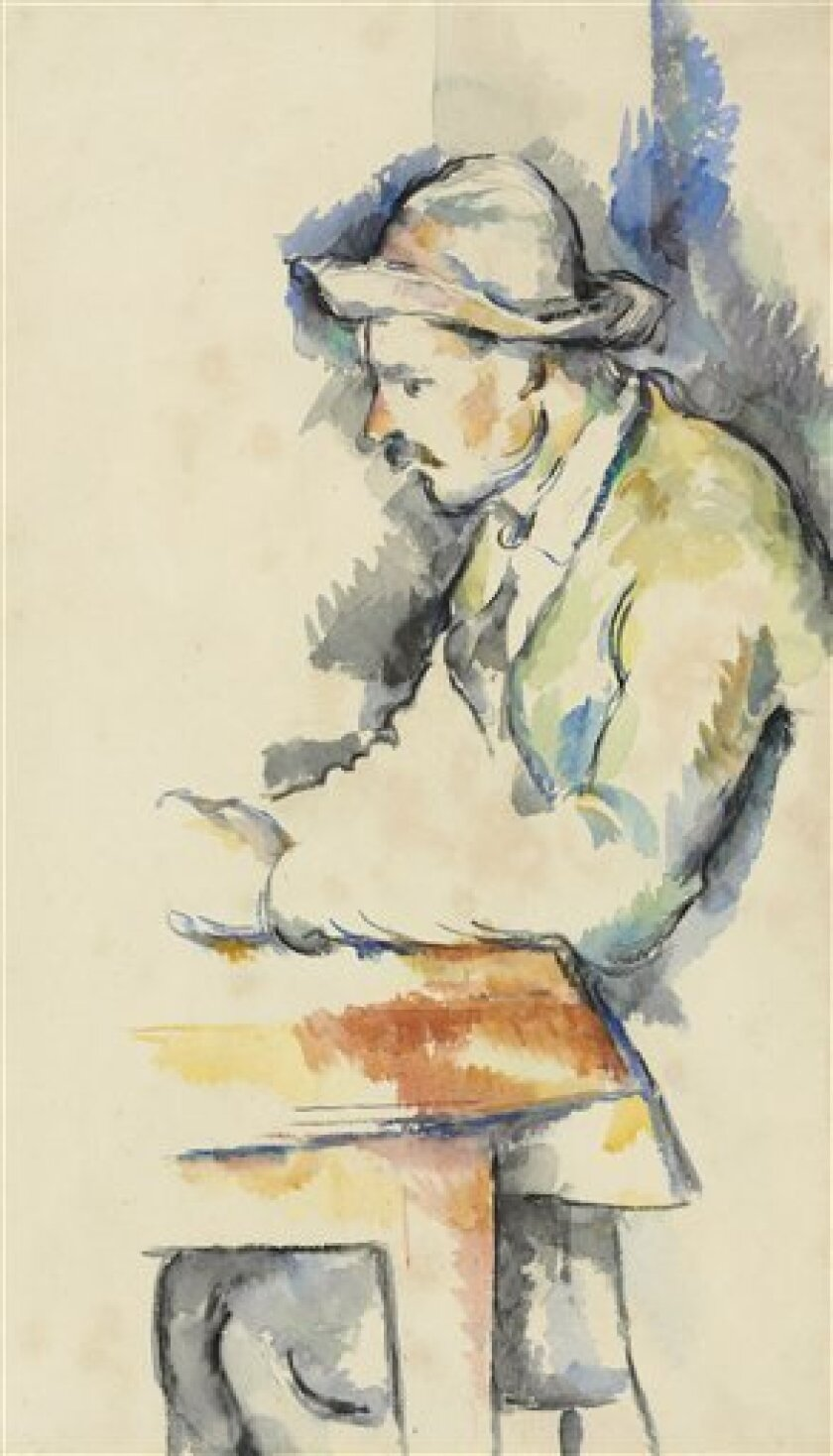 "This undated picture provided by Christie's shows a rare watercolor study by French artist Paul Cezanne believed lost and last seen in 1953. It will be sold at auction May 1, 2012, by Christie's in New York, where it's expected to bring up to $20 million. The watercolor is one of Cezanne's studies for ""Card Players,"" a five-painting series created between 1890 and 1896. (AP Photo/Christie's)"