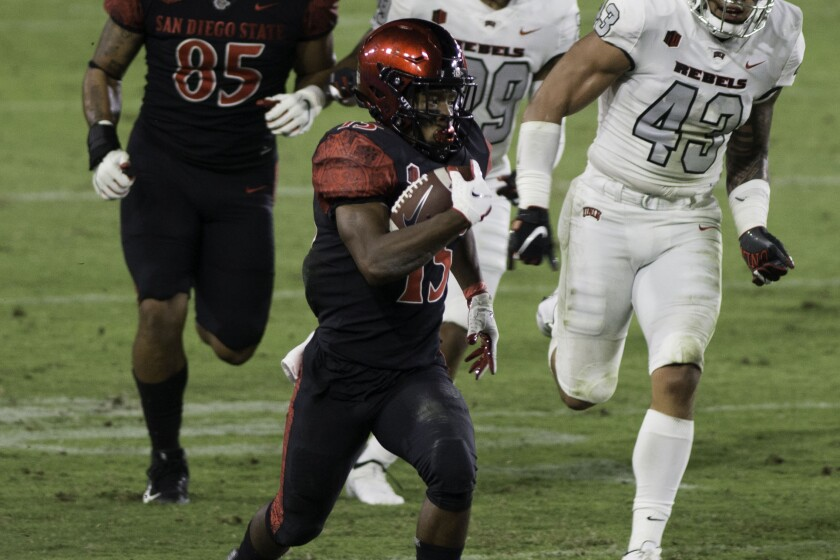 San Diego State's Jordan Byrd runs the ball for a big gain.