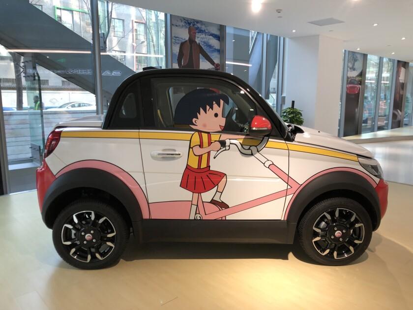 A Maimai electric vehicle on display in Jiangu Saleen's Beijing showroom in early 2020.